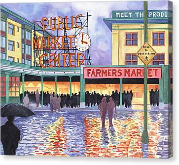 Pike Place Lights Canvas Print by Scott Nelson