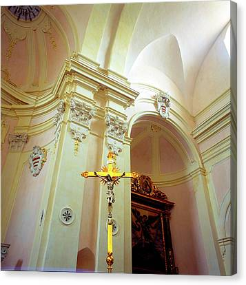 Pink Cathedral With Gold Cross Canvas Print by Martin Sugg