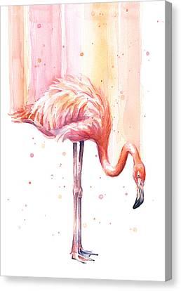 Pink Flamingo - Facing Right Canvas Print by Olga Shvartsur