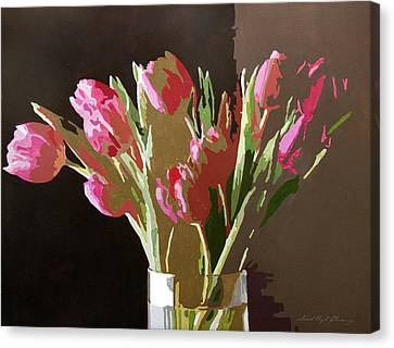 Pink Tulips In Glass Canvas Print by David Lloyd Glover