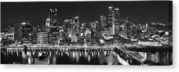Pittsburgh Pennsylvania Skyline At Night Panorama Canvas Print by Jon Holiday