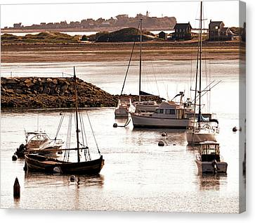 Plymouth Harbor At Low Tide Canvas Print by Janice Drew