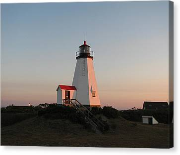 Plymouth Lighthouse At Sunrise Canvas Print by Brian Mazzoli