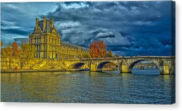 Pont Royal Over The River Seine Canvas Print by Barry Marsh