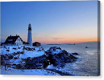 Portland Head Lighthouse Sunrise - Maine Canvas Print by Joann Vitali