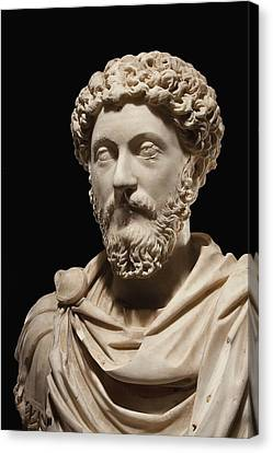 Portrait Bust Of Emperor Marcus Aurelius Canvas Print by Roman School