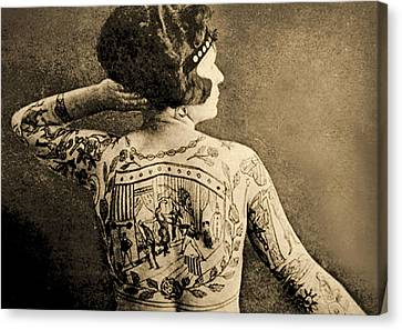 Portrait Of A Tattooed Woman Canvas Print by English School