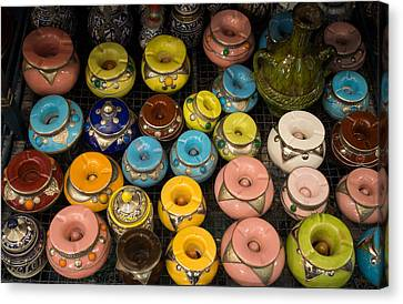 Pottery In Sales Room, Fes, Morocco Canvas Print by Panoramic Images