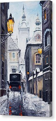 Prague Old Street 02 Canvas Print by Yuriy  Shevchuk