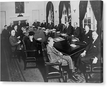 President Roosevelt Meeting Canvas Print by Everett