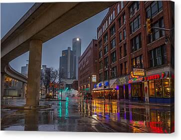 Rainy Night In Detroit  Canvas Print by Pravin Sitaraman