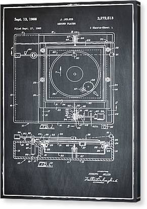 Record Player Patent 1966 Chalk Canvas Print by Digital Reproductions