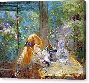 Red-haired Girl Sitting On A Veranda Canvas Print by Berthe Morisot