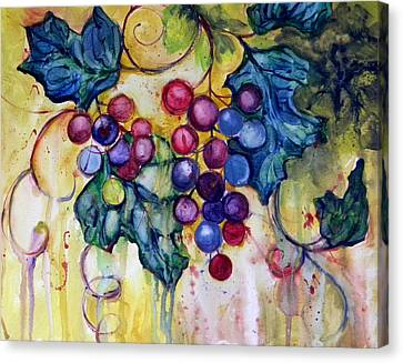 Red Water Color Grapes Canvas Print by Peggy Wilson