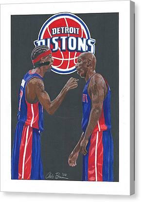 Richard Hamilton And Chauncey Billups Canvas Print by Chris Brown