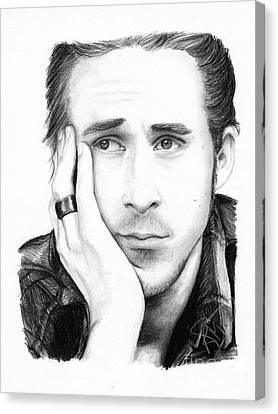 Ryan Gosling Canvas Print by Rosalinda Markle