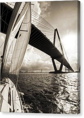 Sailing On The Charleston Harbor Beneteau Sailboat Canvas Print by Dustin K Ryan