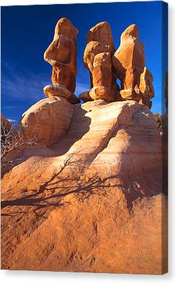 Sandstone Hoodoos In Utah Desert Canvas Print by Utah Images