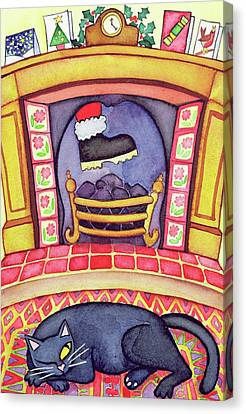 Santa Arriving Down The Chimney Canvas Print by Cathy Baxter