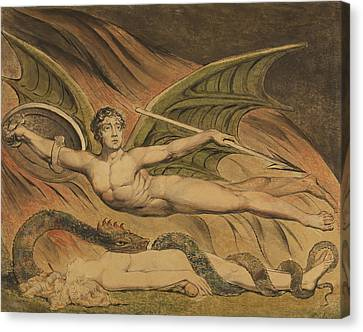 Satan Exulting Over Eve Canvas Print by William Blake