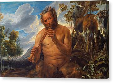 Satyr Playing The Pipe Canvas Print by Jacob Jordaens