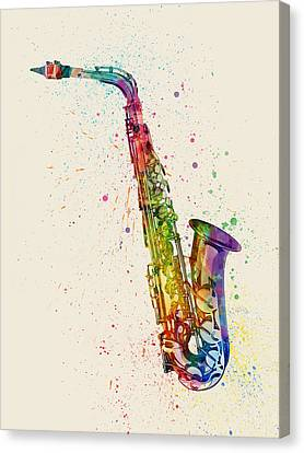 Saxophone Abstract Watercolor Canvas Print by Michael Tompsett