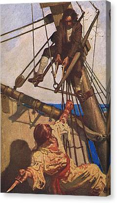 Scene From Treasure Island Canvas Print by Newell Convers Wyeth