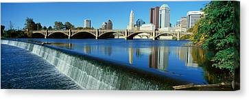 Scioto River With Waterfall Canvas Print by Panoramic Images