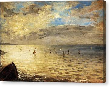 Sea Viewed From The Heights Of Dieppe Canvas Print by Eugene Delacroix