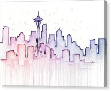 Seattle Skyline Watercolor Canvas Print by Olga Shvartsur
