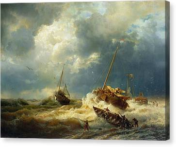 Ships In A Storm On The Dutch Coast Canvas Print by Mountain Dreams
