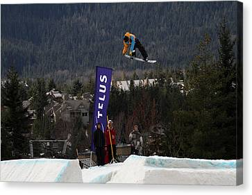 Snowboarder At The Telus Snowboard Festival Whistler 2010 Canvas Print by Pierre Leclerc Photography