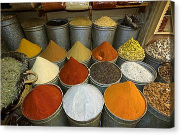 Spices For Sale In Souk, Fes, Morocco Canvas Print by Panoramic Images