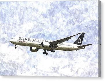 Star Alliance Boeing 777 Art Canvas Print by David Pyatt
