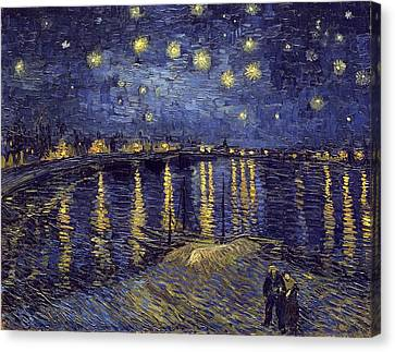 Starry Night Over The Rhone Canvas Print by Van Gogh