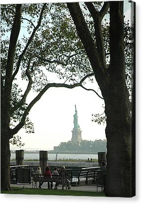 Statue Of Liberty From Ellis Island Canvas Print by Frank Mari