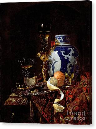 Still Life With A Chinese Porcelain Jar Canvas Print by Willem Kalf