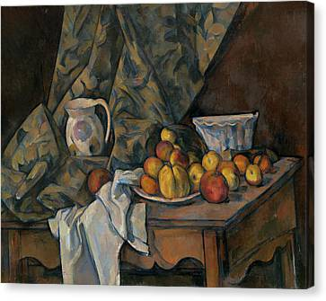 Still Life With Apples And Peaches Canvas Print by Paul Cezanne