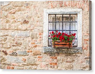 Stone Window Of Cortona  Canvas Print by David Letts