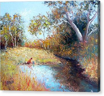 Sunday By The Creek Canvas Print by Jan Matson