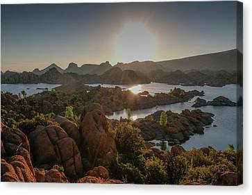 Sunrise At Watson Lake Canvas Print by Teresa Wilson