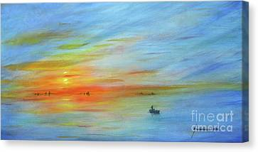 Sunrise On The River Canvas Print by Jerome Stumphauzer