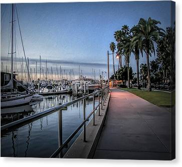 Sunrise Over Santa Barbara Marina Canvas Print by Tom Mc Nemar