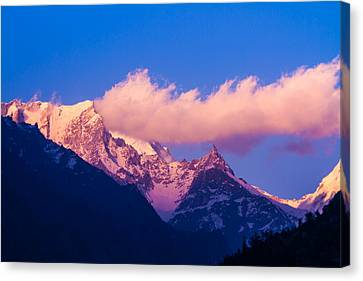 Sunset In The Indian Himalayas Canvas Print by Nila Newsom