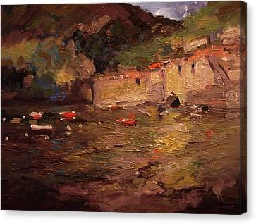 Sunset In Vernazza Canvas Print by R W Goetting