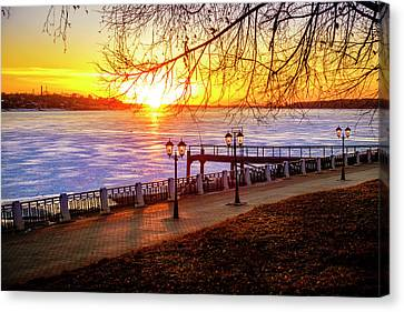 Sunset On Volga River Canvas Print by Alexey Stiop