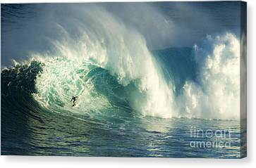 Surfing Jaws Maui Hawaii Canvas Print by Bob Christopher