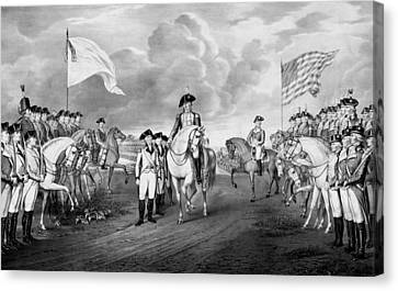 Surrender Of Lord Cornwallis At Yorktown Canvas Print by War Is Hell Store