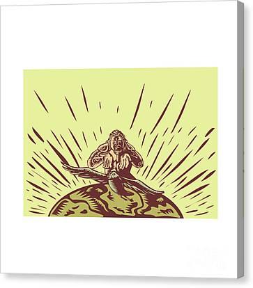 Tagaloa Releasing Bird Plover Earth Woodcut Canvas Print by Aloysius Patrimonio