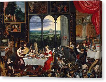 Taste, Hearing And Touch Canvas Print by Jan Brueghel the Elder